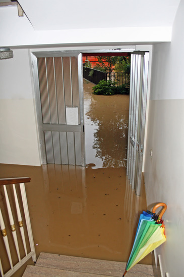 entrance of a House fully flooded during the flooding of the ... on dy design, vi design, l.a. design, punk rock design, black and white design, slipknot design,